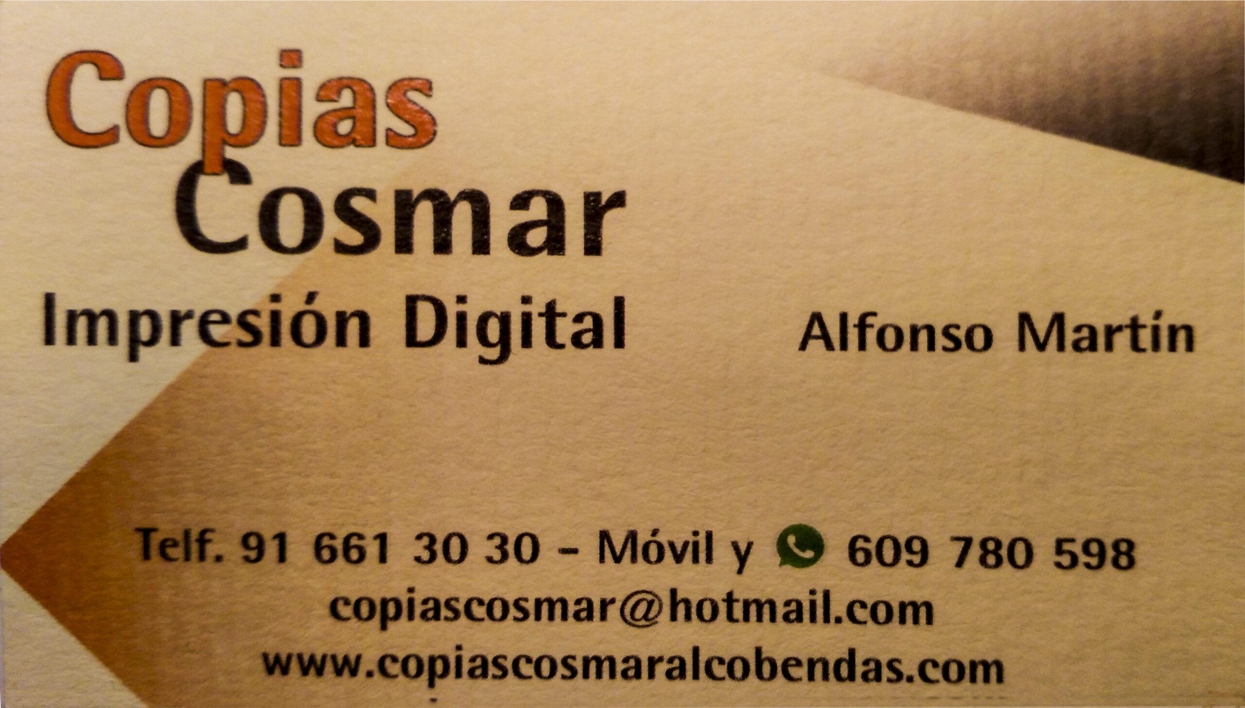 Copias Cosmar – Pº de la Chopera, 202 28100-Alcobendas (Madrid) Impresión Digital con calidad fotográfica muy económica.  Descuentos a Socios de la AFSSR.